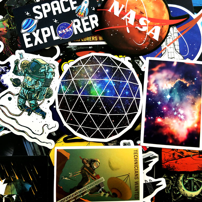 Planetary Galaxy Space Astronaut Stickers For Suitcase Guitar Laptop 100Pcs