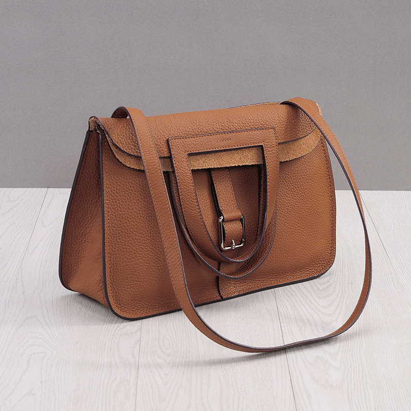 ФОТО 2017 Fashion Genuine Leather women Handbag new Design Brown Horseshoe Lady Shoulder bag OL Commuter bag Casual Crossbody Bags