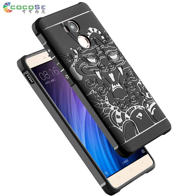 Xiaomi redmi 4 pro silicio caso 3D tallada teléfono mate cubierta suave TPU coque para xiaomi redmi 4 Prime anti-knock cocose marca