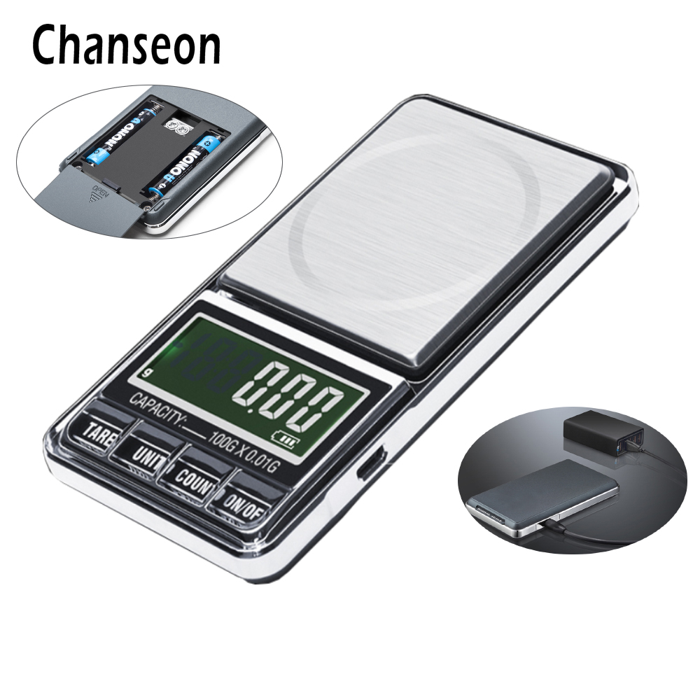 100g/500g x 0.01g Electronic Mini Precision USB Powered Digital Jewelry Scales Pocket Weight Balance Gold Gram Weighing Scale