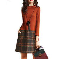 Spring Autumn Women Dress 2018 New Fashion Top Quality Long Sleeve Thin Sexy Female Dresses Plaid