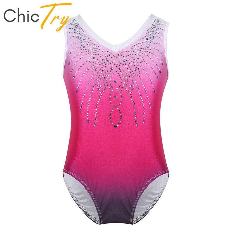 ChicTry Kids Teens One-piece Gymnastics Leotard Girls Sleeveless Shiny Rhinestone Ballet Leotards Bodysuit Stage Dance Costume