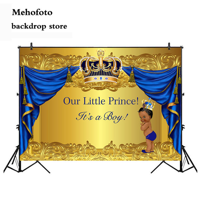 Mehofoto Baby Shower Photography Backdrop Crowned Royal Prince Vinyl Background Gold and Blue Curtain Newborn Birthday Party 936