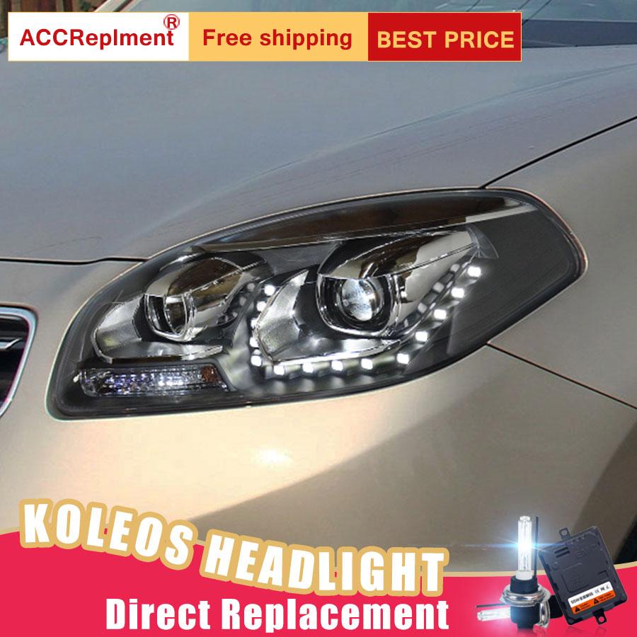 Image 3 - 2Pcs LED Headlights For Renault Koleos 2012 2016 led car lights Angel eyes xenon HID KIT Fog lights LED Daytime Running LightsCar Light Assembly   -