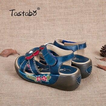 Tastabo Genuine Leather Gladiator Sandals Fashion Low Wedges Flower Summer Shoe Ladies Platform Sandals Shoes Women Flat Shoes 10