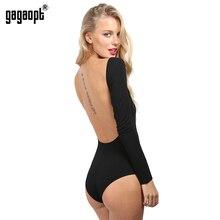 Gagaopt Backless Bodysuit Long Sleeve Sexy Bodysuit Black Summer Overalls Body for women Combinaison Femme Blusa Salopette