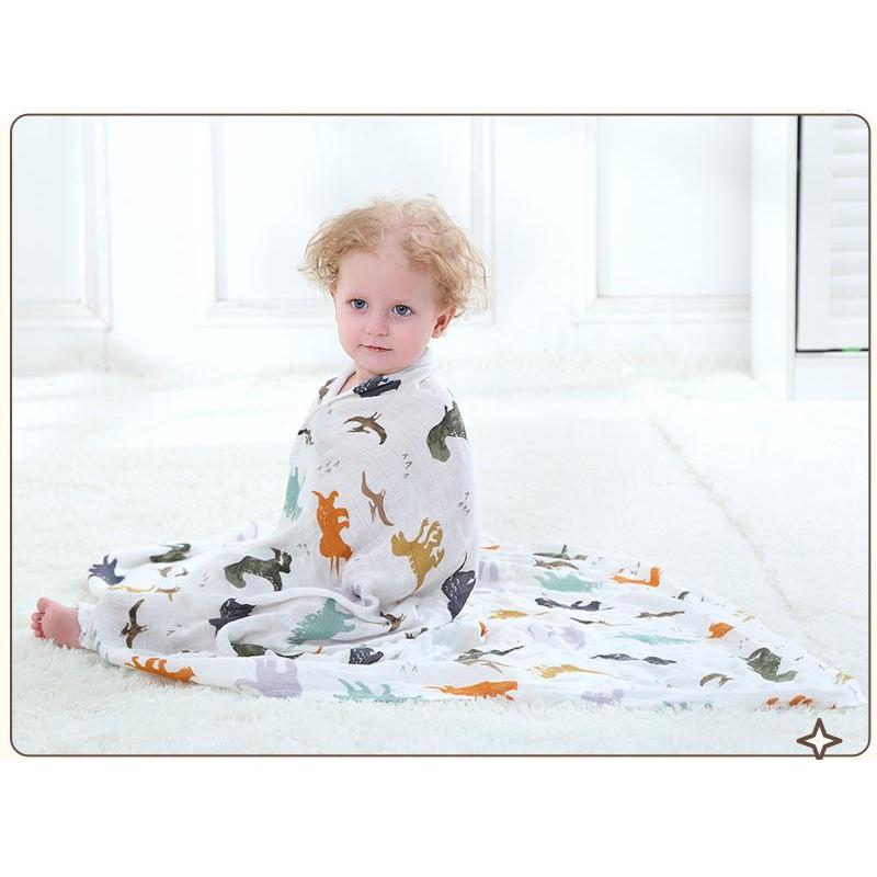70% Bamboo Fiber 30% Cotton Muslin Blankets Dinosaur World Baby Blanket Bedding Swaddle For Newborn Swaddling Blanket Bath Towel