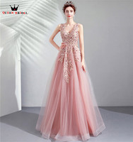 Pink A line V neck Tulle Lace Pearls Evening Dress Elegant Long Formal 2020 New Arrival Party Gowns Dress Evening Gown CS114M