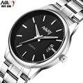 4 Cores Marca Nary Relógio do Negócio Dos Homens Relógios Em Aço Inoxidável Relógio de Pulso de Quartzo Calendário Relógio de Pulso de Moda Homens Se Vestem de Relógio