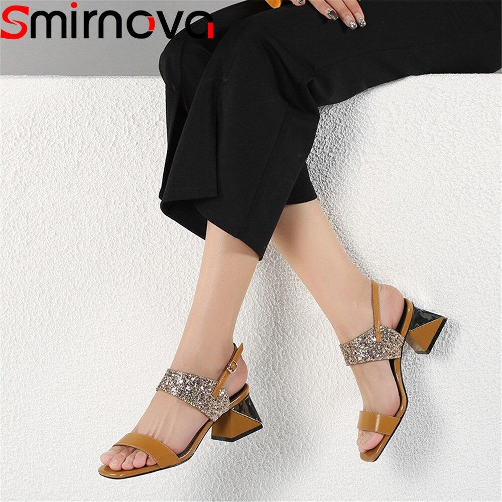 Smirnova bling tacco di spessore 2020 di estate nuovo scarpe donna fibbia sandali eleganti delle donne del cuoio genuino scarpe tacchi alti beige-in Tacchi alti da Scarpe su  Gruppo 1