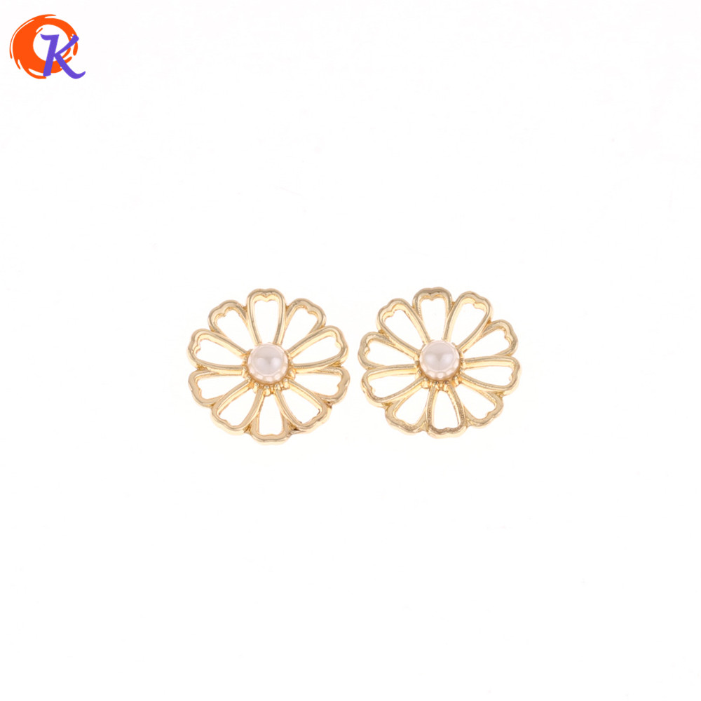 Cordial Design 100Pcs/Lot 16MM Jewelry Accessories/Gold Hollow Flower With Pearl/DIY/Earrings Making/Hand Made/Earring Findings