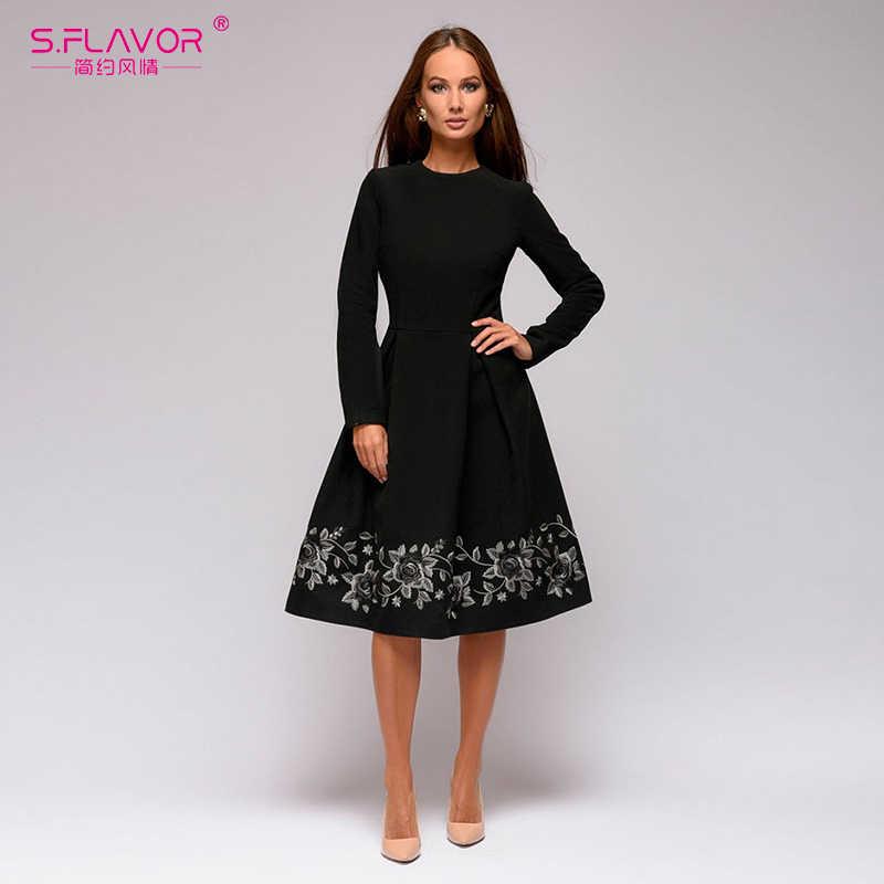 S. FLAVOR женское черное платье трапециевидной формы с вышивкой Элегантное повседневное платье с круглым вырезом и длинным рукавом для женщин осень зима ретро Vestidos De