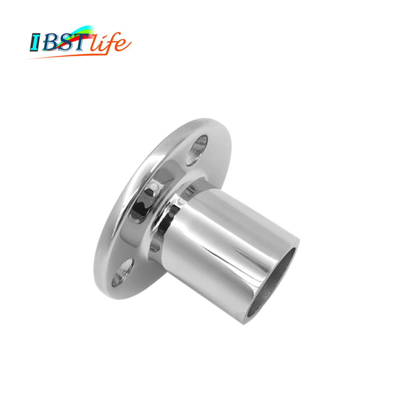 316 Stainless Steel 90 Degree Marine Boat Hand Rail Fitting <font><b>Round</b></font> Stanchion <font><b>Base</b></font> For Pipe 22mm 25.4mm <font><b>32mm</b></font> Dia image