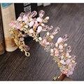 Luxury pink crystal coronas de novia tiaras diademas hechas a mano de perlas joyas accesorios para el cabello de las mujeres de la boda celada