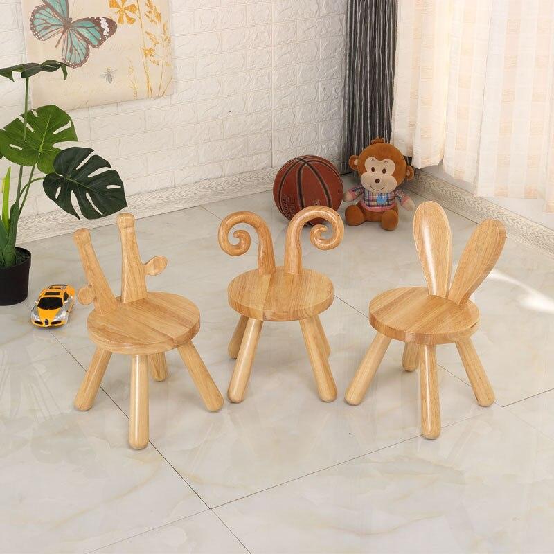 Tabouret enfant bois massif dessin animé maternelle bébé chaise chene animal chaise enfant cerf lapin blanc chaise renne