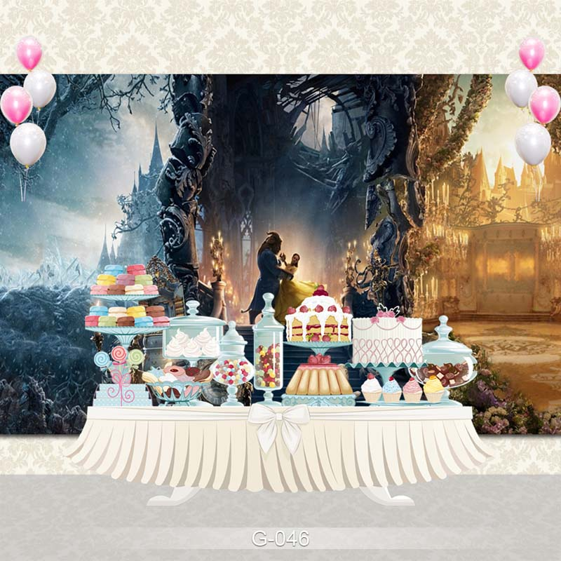 Vinyl Photography Backdrop Cartoon Fairy Tale Princesses Beauty and Beast Birthday Party Backdgrounds for Photo Studio G-046 vinyl photography background fairy tale