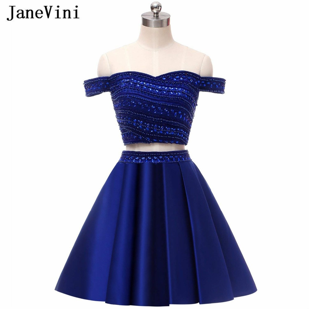 JaneVini 2018 Two Piece   Dress   Royal Blue   Bridesmaid     Dresses   Off The Shoulder Satin Beaded Crystal A Line Short Homecoming   Dress