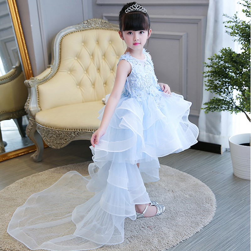 Appliques Flower Girl Dresses with Long Tailing Sleeveless Ball Gown Kids Girl Pageant Dress for Wedding Birthday Party 3-13T 2017 mint high low flower girl dress for wedding with long train crystals ball gown kids 1st birthday party outfits baby dresses