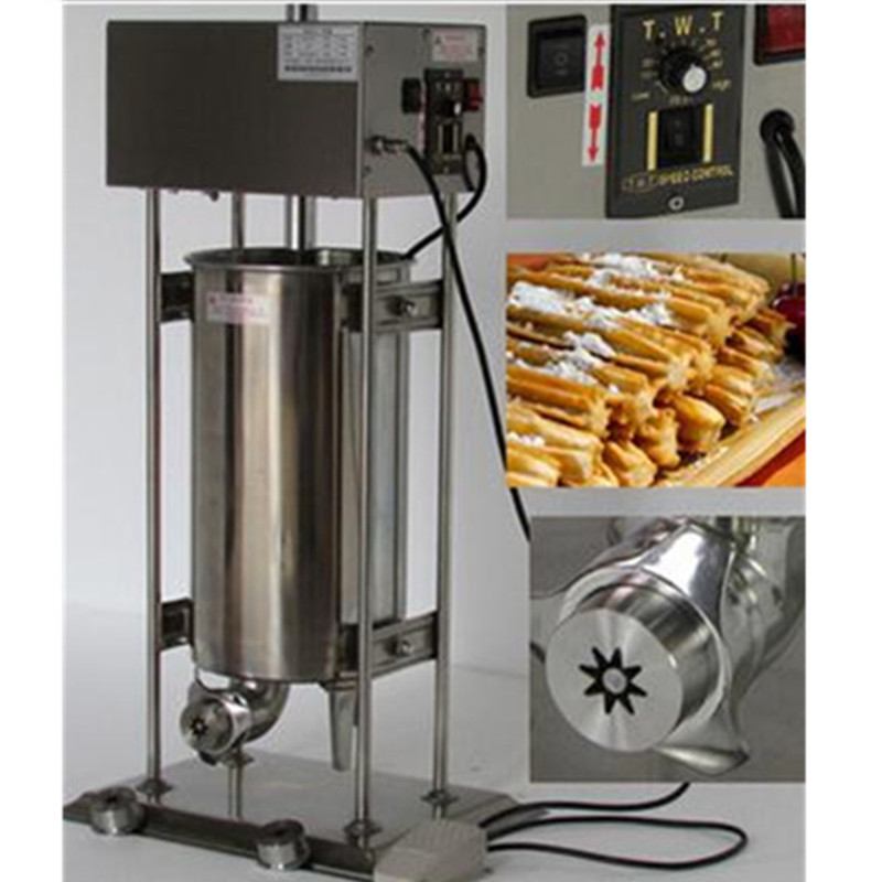 10L electric automatic spain churros making machine fried dough sticks machine spanish snacks, latin fruit maker 5 pcs electrical spain spanish churros making machine