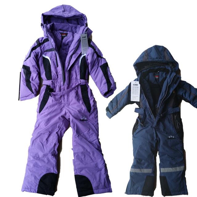 1-7 T niños trajes para la nieve de invierno forro espesar impermeable con gusto muchachas de los bebés trajes niños trajes de esquí de nieve chaquetas pantalones