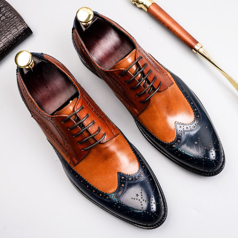 British Style Man Formal Dress Wingtip Brogue Shoes Genuine Leather Wedding Party Round Toe Mixed Colors Mens Footwear SS343British Style Man Formal Dress Wingtip Brogue Shoes Genuine Leather Wedding Party Round Toe Mixed Colors Mens Footwear SS343