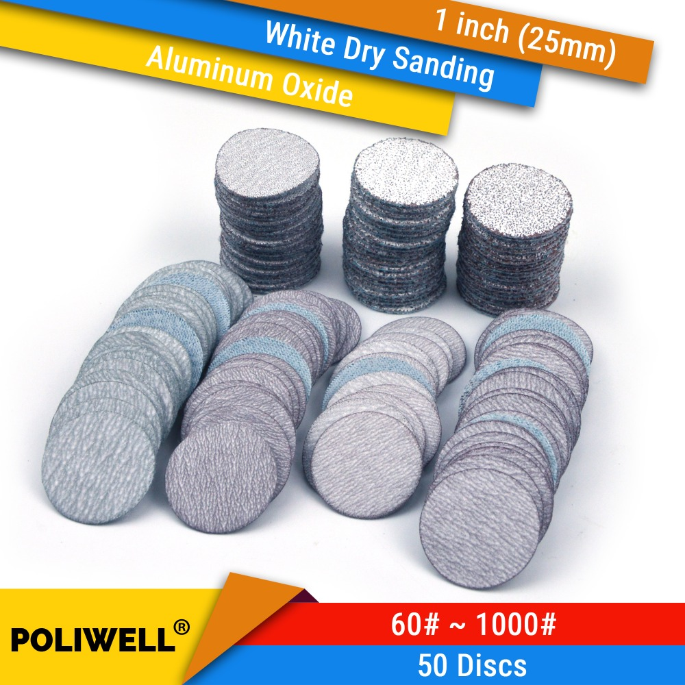 50PCS 1 Inch(25mm) Aluminum Oxide Hook&Loop Round Sandpaper White Dry Sanding Discs For Dremel Tools Polishing Accessories