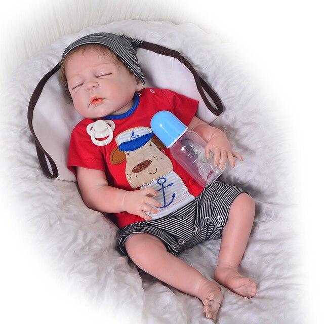 57 Cm Full Body Silikon Reborn Baby Boy Boneka Anak Hadiah Mainan Boneka  Mainan Mandi Bebes d623dc2b7f