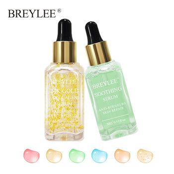 BREYLEE 2pcs 24k Gold Serum Collagen Lifting Firming Face Skin Care Collagen Whitening Anti aging Wrinkle