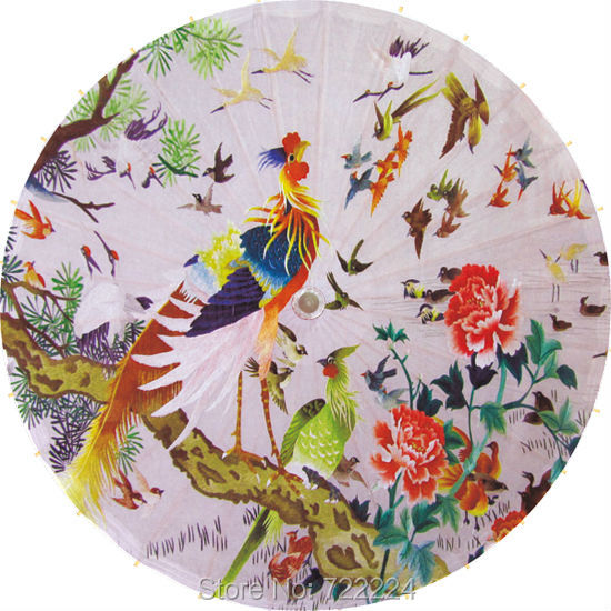 Dia 84cm Phoenix with Hundred birds Picture Chinese classical handmade unique waterproof cosplay decorative oiled paper umbrella