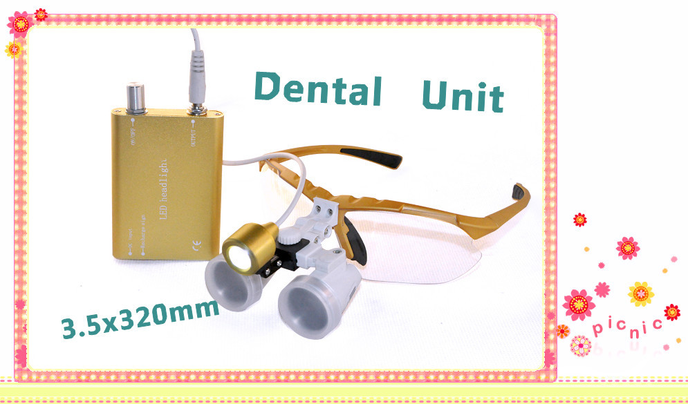 Free shipping Dental Surgical magnifier 3.5X320mm Binocular Loupes Optical Glass + Portable LED Head Light Lamp