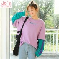 Korea Ulzzang Women Hoodies Pullover Thick Coat Winter Loose Sweatshirt Hoodies Sweet Long Purple Contrast Color Tops