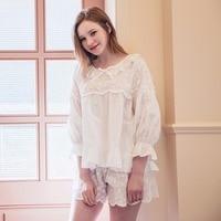 2017 Summer Women Cotton Pajamas Floral Embroidery Female Pyjamas Flare Sleeve White Cute Pajama Sets
