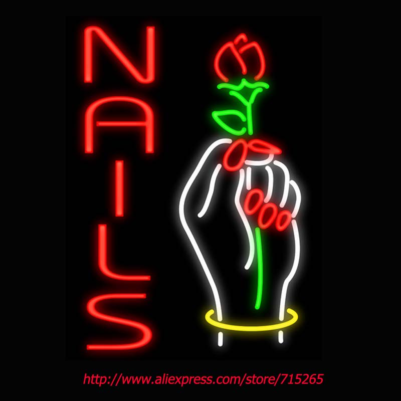 Nails Hand Rose Neon Signs Board Neon Bulbs Light Real GlassTube Handcrafted Beer Bar Pub Led Signs Food Store Display 31x24