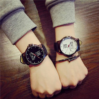 Korean Fashion Minimalist Harajuku Male Watches Female Students Korean Casual Retro Leather Belt Quartz Wrist watch