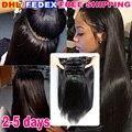 Barato brasileiro virgem 7A reta clip em extensões do cabelo humano para as mulheres negras remy grampo de cabelo humano em weave cor 1b preto