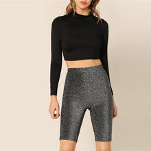 4393f5110923d SHEIN Black Casual Highstreet Solid Glitter Skinny Cycling Short Legging  Summer