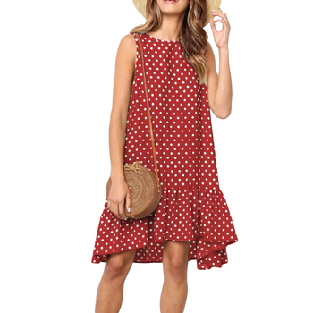 Sleeveless O-neck Polka Dot Ruffles Summer Dress 2019 Casual Loose Plus Size Dress Women plus size women half sleeve ruffles casual summer dress sexy o neck a line loose mini everyday dress sundress vestidos feminino