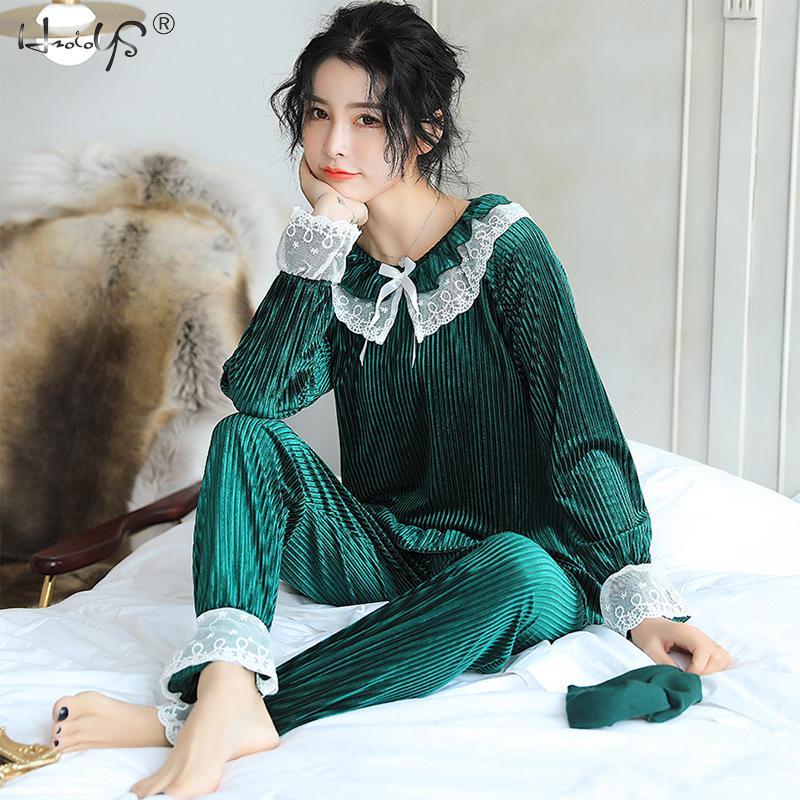 2018 Lace Trim Winter Gold Velvet Warm   Pajamas     Set   Long Sleeve Shirt & Pants Pyjamas Suit Sleepwear Casual Home Clothing