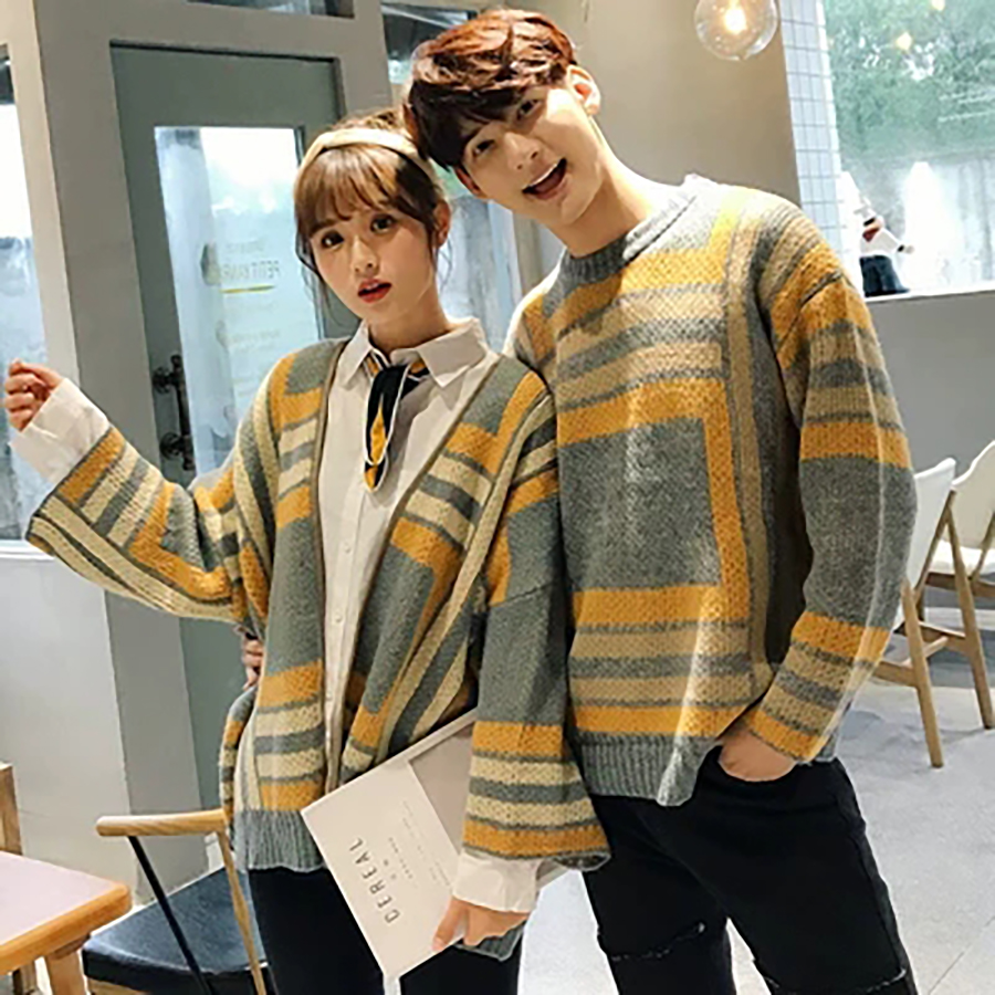 Hip Hop Men Sweater Knitted Pullovers Legant College Couple Loose Casual New Korean Winter Sweaters Trui Heren Clothes 50my045