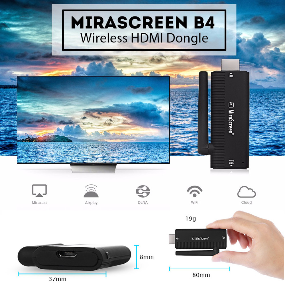 MiraScreen B4 Dongle HDMI Wireless AM8252B CPU 2.4 GHz Wifi Pieno 1080 P 128 MB di RAM Multimediale TV Stick Supporto Miracast Airplay DLNA