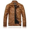 Горячая Продажа мужская кожаная куртка мода Тонкий кожа PU мотоцикла кожаная куртка мужчины бренд плюс бархат кожаное пальто высокого качество