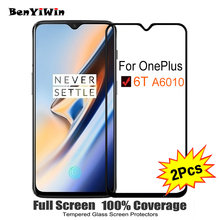 """2 STUKS Volledige Cover Screen Protector Gehard Glas Voor Oneplus 6 T 6.41 """"9 H Beschermende glas Voor OnePlus zes T 1 + 6 T A6010 Film Case"""