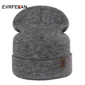 Evrfelan Knitted Winter Women Beanie Hats Men Cap bonnet 154a1cca3eb0