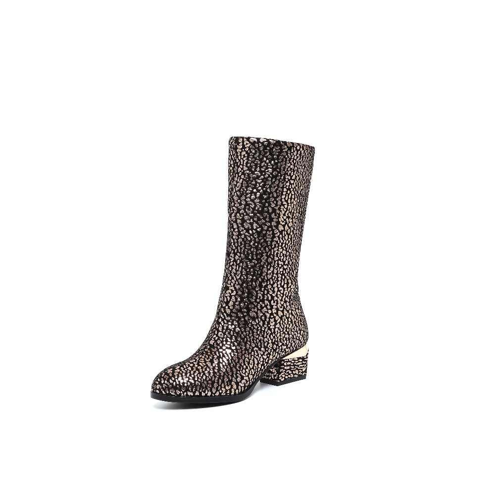 Krazing Pot avrupa tarzı metal fermuar sivri burun med kalın topuklu güzellik tahıl yüksek kaliteli olgun kadın orta buzağı çizmeler L01