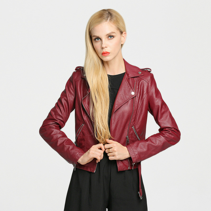 Mujer Chaqueta Cuero Jacket Leather 2017 Winter Burgundy De Woman rEEx6wp