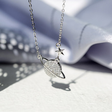 Korean fashion s925 silver jewelry space star planet necklace chain for women rhinestone choker pendant star female necklace P34