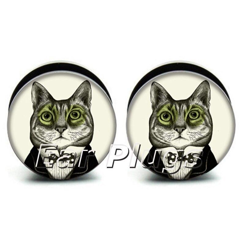 Wholesale 60pcs doctor cat plug acrylic screw fit ear plug flesh tunnel ear gauges mix sizes 6mm-25mm A0209