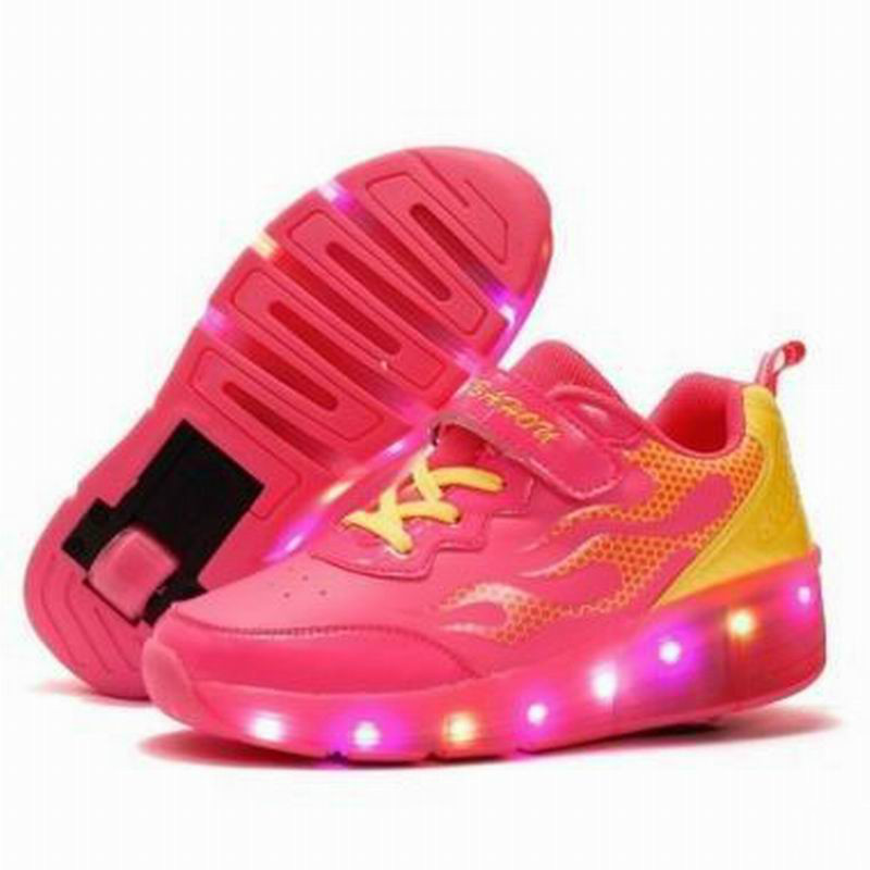 Led Shoes For Kids Single Wheel Glowing Sneaker Boys Girls Flash Sport Shoes For Sale 2017 new children led sport shoes breathable sneakers orthopedic unisex anti skid light shoes kids casual shoes for girls boys