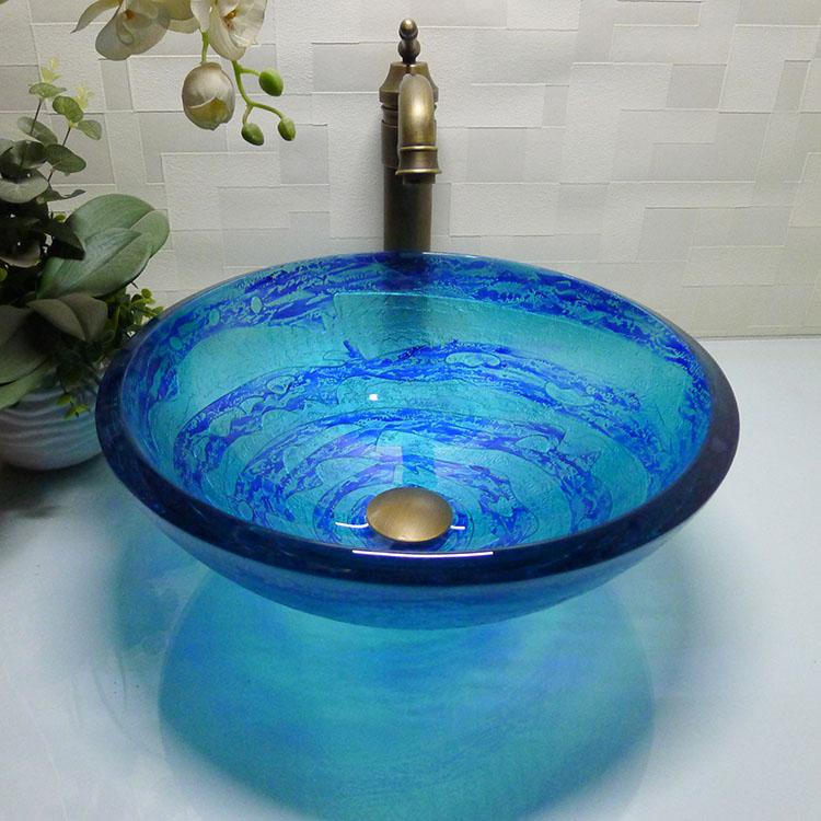 Bathroom Round Tempered Gl Above Counter Wash Basin Cloakroom Top Vessel Sink Hx007 In Sinks From Home Improvement On Aliexpress