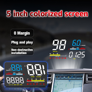 Image 3 - GEYIREN Car HUD D5000 OBD2 Head Up Display Digital Speedometer Windshield Projector Overspeed RPM Water Temperature Alarm